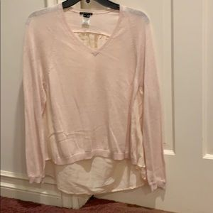 Theory pink sweater w/ back panel cotton cashmere
